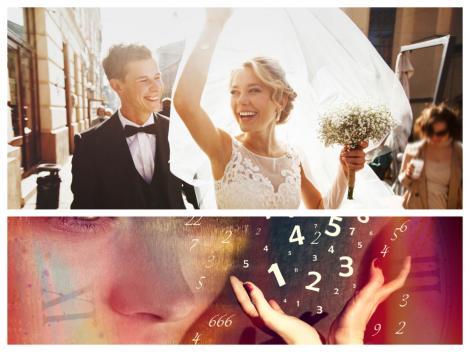 Colaj cu un cuplu proaspăt căsătorit și numere