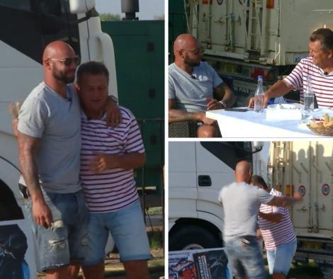 colaj foto cu Giani Kiriță la Poftiți la circ, atunci când se fugărește și se împacă cu Nea Marin
