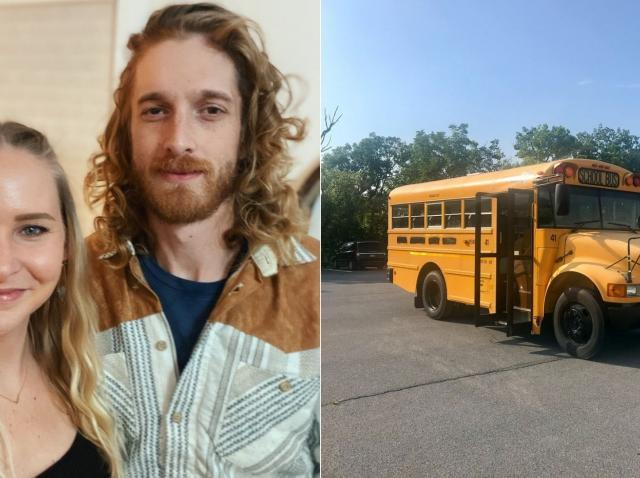 lindsay chapman si leo ross langa autobuzul pe care l-au transformat intr-o locuinta