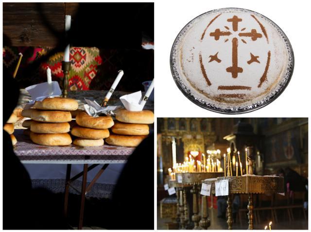 Colivă, colaci și lumânări în biserică