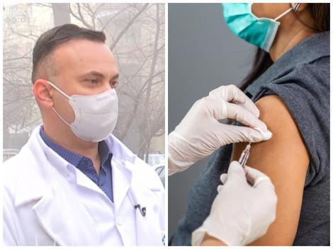Colaj cu medicul Adrian Marinescu și cu o femeie care se vaccinează