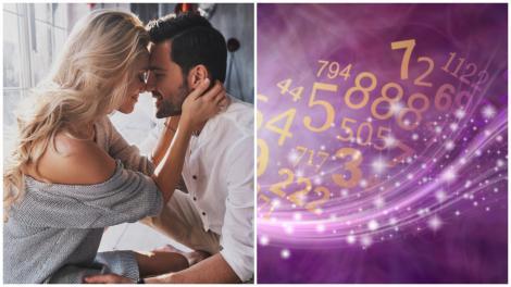 Colaj cu un cuplu îmbrățișat și numere