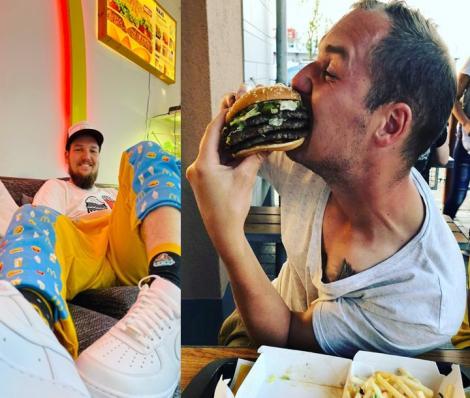 David Geyer acasă (stânga) și la fast food-ul preferat (dreapta)