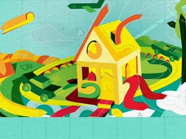 """Imagine ilustrativă în stil desen animat cu o casă înconjurată de natură și mesajul """"certificare enrgetică"""""""