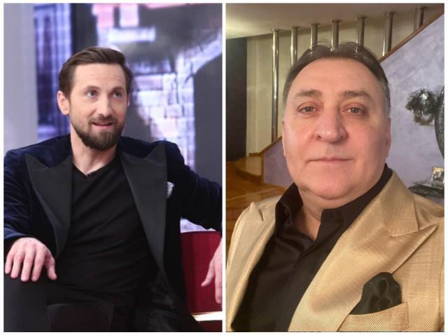 Colaj cu Dani Oțil, într-un sacou negru și Vali Vijelie, într-un sacou maro