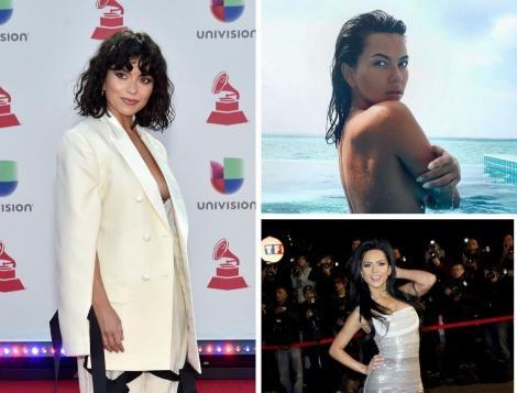 Inna in trei ipostaze diferite. Cu bustul gol, intr-un sacou alb și intr-o rochie gri
