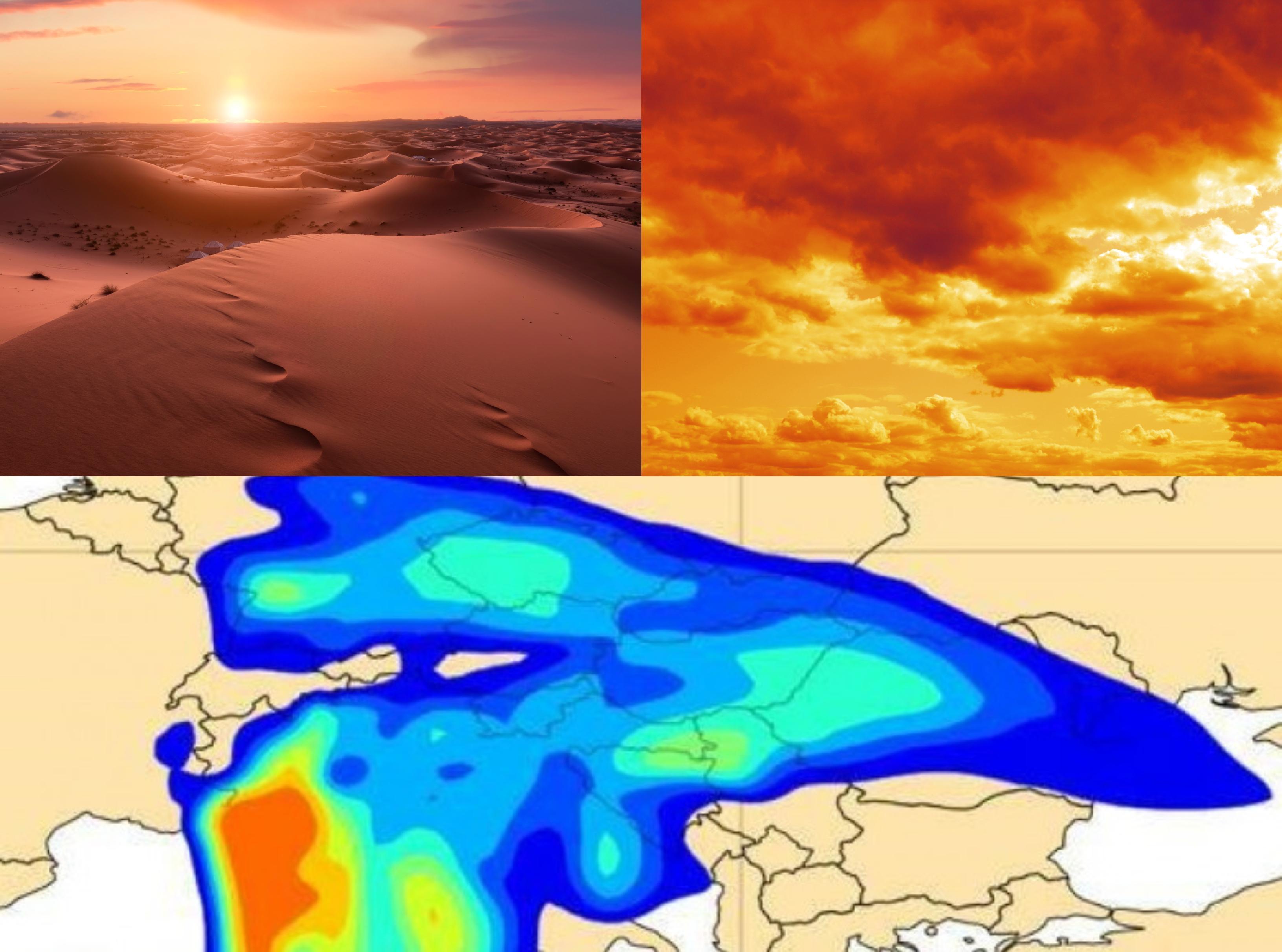 Alertă ANM! Un nor de praf saharian ajunge în România duminică, luni și marți, dinspre nordul Africii