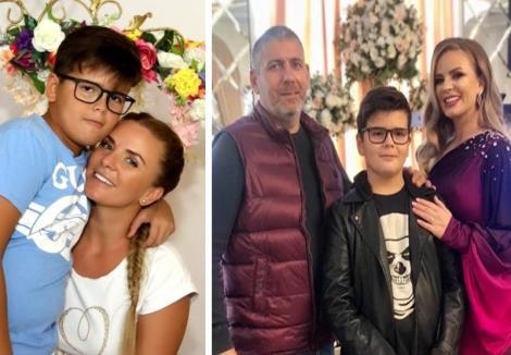 Colaj foto: în stânga Marcela Fota cu fiul său, în dreapta poză de familie cu Marcela Fota, fiul și regretatul său soț