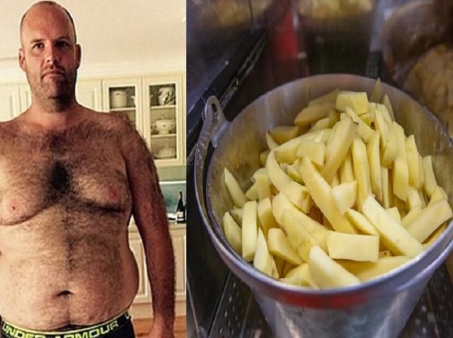 colaj foto cu Andrew Flinders Taylor  la 151 de kilograme și o poză ilustrativă cu cartofi