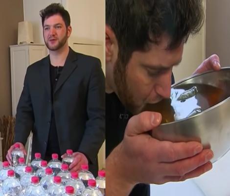 colaj foto cu Marc Wübbenhorst bând o sticlă de apă
