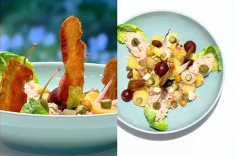 Salată combinată cu cartofi, mere și multe ingrediente