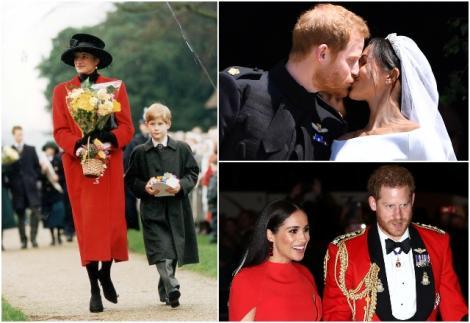 colaj 3 poze, diana si harry, imbracata in rosu si el in negru, harry si meghan ziua nunti, harry si meghan imbracati in rosu
