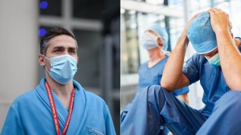 colaj de imagini cu valeriu gheorghita si doi medici epuizati