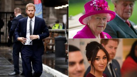 colaj de imagini cu printul harry, regina elisabeta si meghan markle