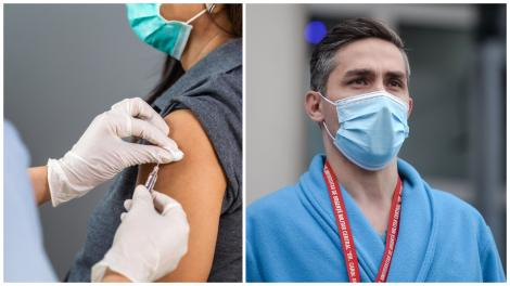 Colaj cu Valeriu Gheroghiță purtând mască și o persoană în timpul vaccinării