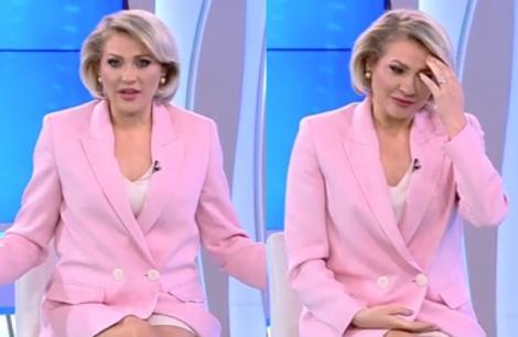 colaj mirela vaida, după atac, costum roz, fundal albastru