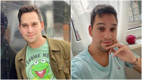 Colaj cu Vlad Gherman într-un tricou verde și unul albastru
