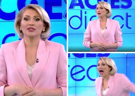 Mirela Vaida într-un sacou roz în cadrul emisiunii Acces Direct