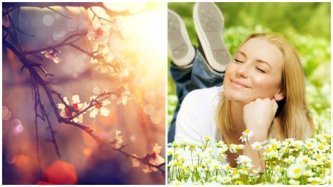 Femeie îmbrăcată în alb, stând lângă o tufă de flori de primăvară