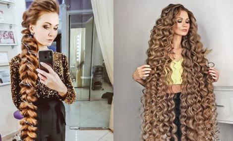 colaj foto cu Daria Gubanova cu părul strâns (stânga) și cu părul desfăcut (dreapta)
