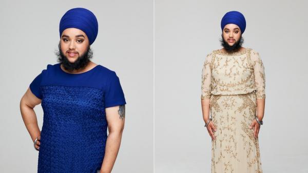 colaj de imagini cu harnaam kaur, femeia cu barba deasa