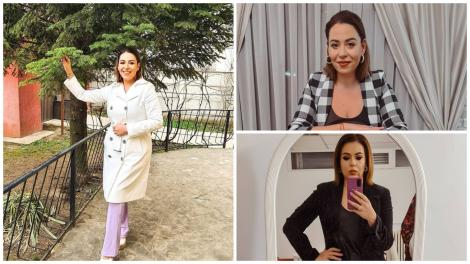 Colaj cu Oana Roman, într-o jachetă albă, o bluză neagră și o cămașă în carouri