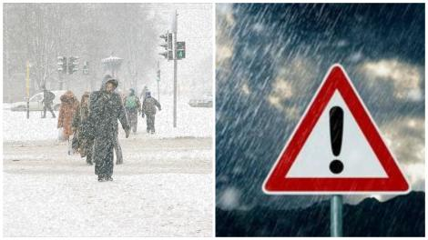 Oameni mergân prin zăpadă, în timpul ninsorii