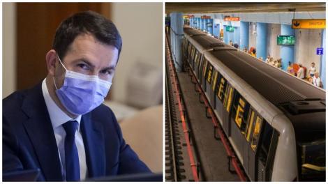 Colaj cu Cătălin Drulă, îmbrăcat în sacou și o garnitură de metrou