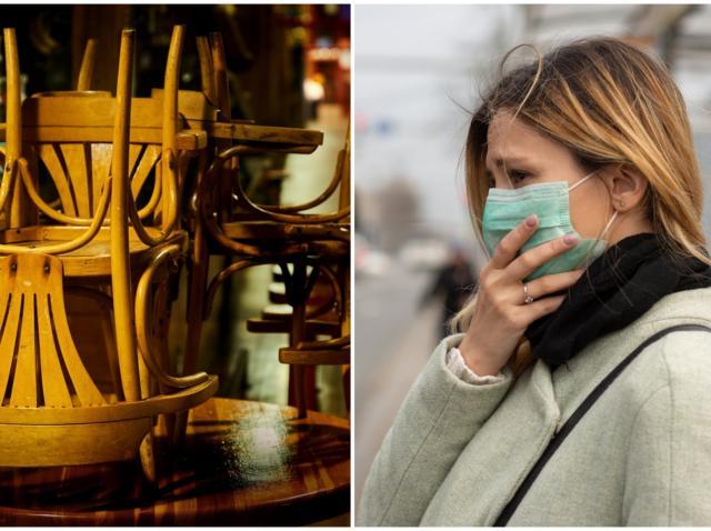 Restaurant închis și persoană trsită cu mască