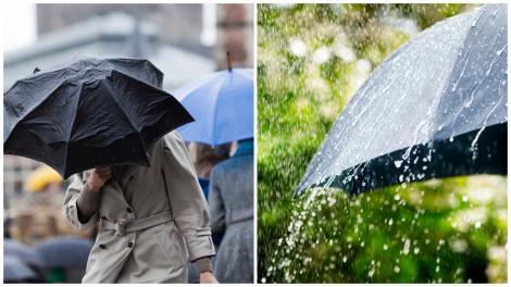 Persoană mergând prin ploaie, cu o umbrelă neagră