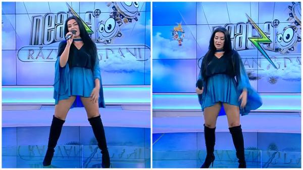 Elena Ionescu într-o rochie albastră și scurtă