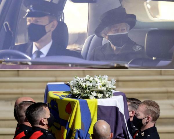 colaj de imagini cu regina elisabeta la inmormantarea printului philip