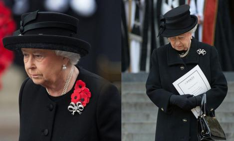 colaj de imagini cu regina elisabeta care e imbracata in doliu