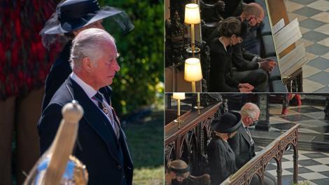 Înmormântarea Prințului Philip. Gestul tandru făcut de Kate Middleton față de Prințul Charles după slujba funerară