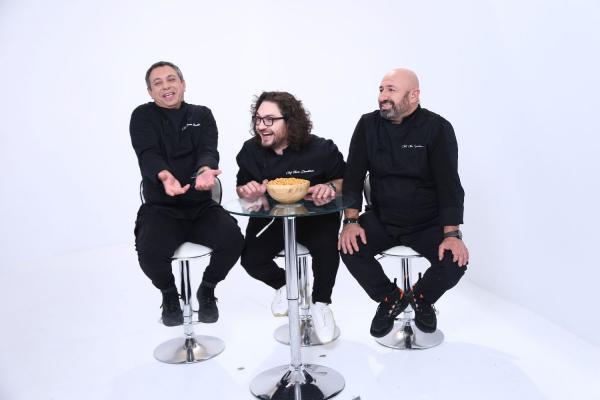 Sorin Bontea, Florin Dumitrescu și Cătălin Scărlătescu, în platoul Chefi la cuțite