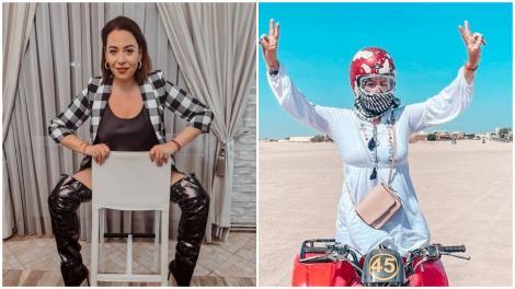 Colaj cu Oana Roman, purtând o cămașă în carouri și o percehe de cizme din latex și o cămașă albă, în Egipt