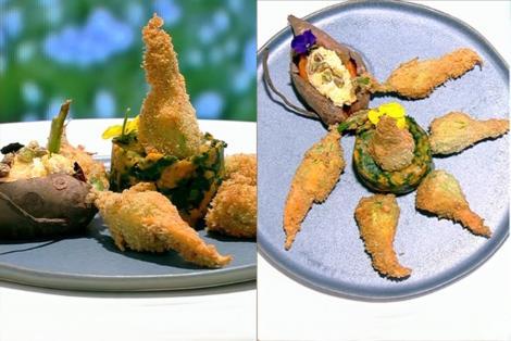 Flori de dovleac umplute cu brânzeturi și fistic, alături de cartofi dulci