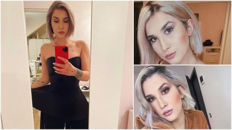 Adda, făcându-și selfie în oglindă, într-o rochie neagră