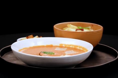 Supă cremă siciliană de roșii și Penne quattro formaggi cu roșii uscate, două preparate din bucătăria italiană