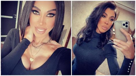 Raluca Pascu, îmbrăcată în negru, făcându-și selfie
