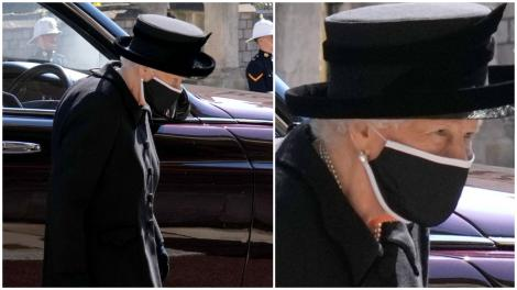 Regina Elisabeta, purtând doliu, la funerariile Prințului Philip