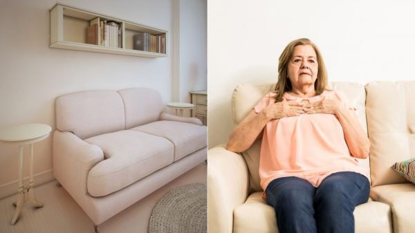 colaj de imagini cu o femeie care sta pe o canapea crem