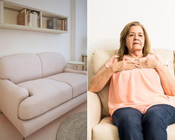 colaj de imagini cu o femeie si o canapea