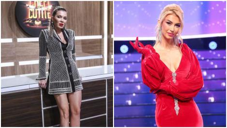 Colaj cu Gina Pistol într-o rochie gri, și Andreea Bălan, într-o rochie roșie