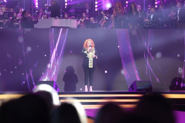 Narcisa Suciu, cântând, pe scenă