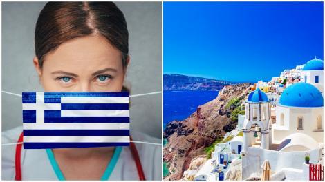 Peisaj din Grecia și o femeie, ținându-și pe față o mască de culorile steagului elen