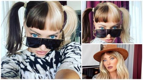 Colaj. Delia cu părul în 2 culori prins în cozi și ochelari și purtând o pălărie