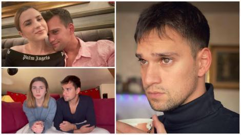 Colaj. Vlad Gherman, trist, într-o bluză neagră. Cristina și Ciobănașu anunțându-și despărțirea și cei doi îmbrățișați, de pe vremea când erau împreună