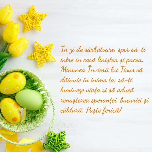 felicitare de paste cu oua si scris galben