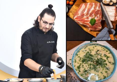 florin dumitrescu (stanga) si imagini cu carne si ciorba de miel (dreapta)